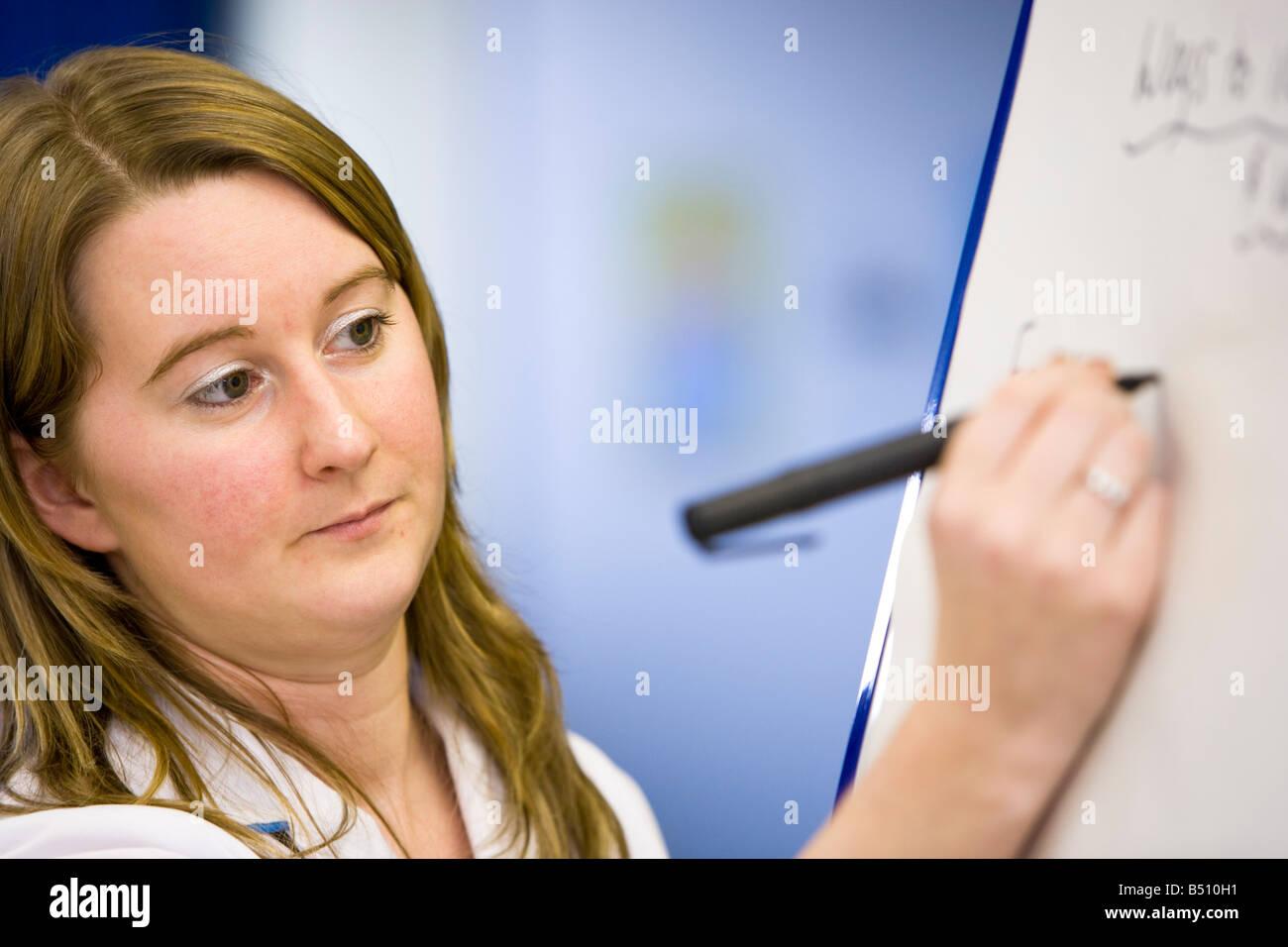 Krankenschwester mit einem Kreisdiagramm zu Gruppen von Lebensmitteln in einer gesunden Ernährung Klasse Lehren Stockbild
