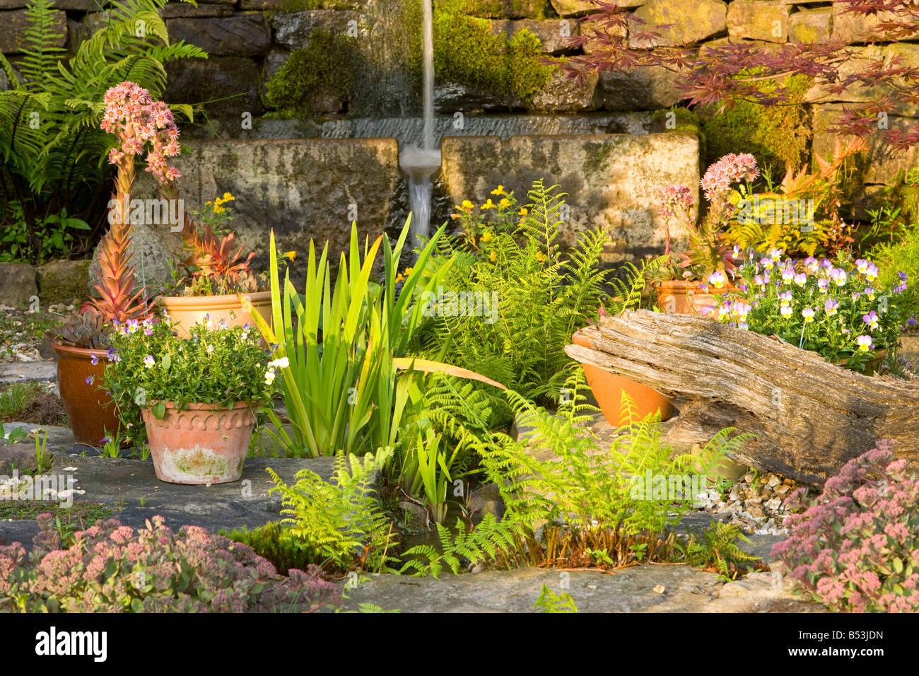 großen Steingarten mit einem Wasserspiel und Farne Stockfoto, Bild ...