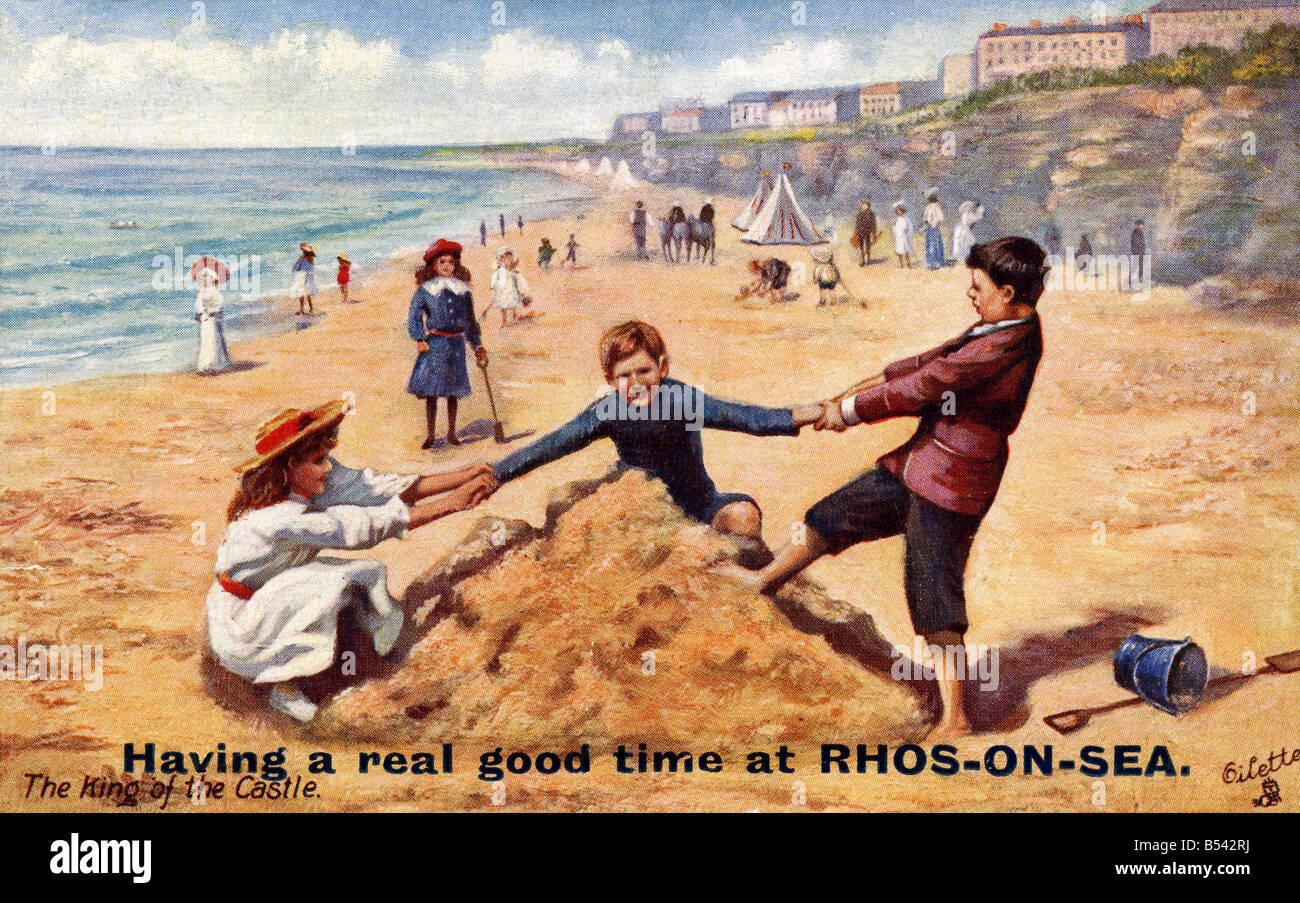 Alte Vintage Meer Ansichtskarte von Rhos auf Meer nur zur redaktionellen Nutzung Stockbild