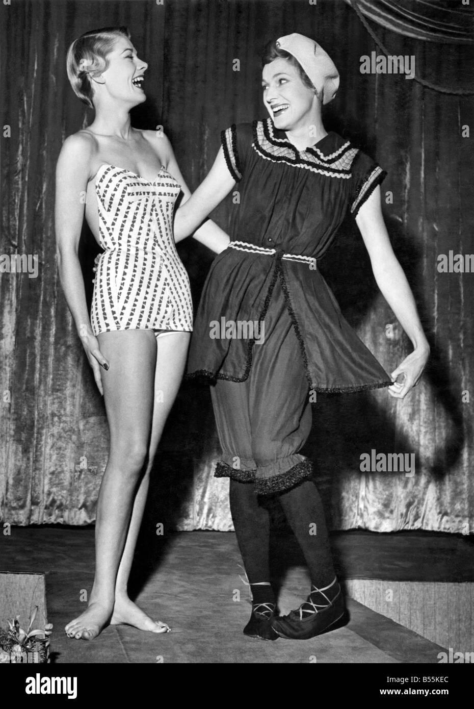 Links Nolla Rose, Miss Pacific 1949 und ein altes umgearbeitet Badeanzug von Frau Langley Moore von ihrem berühmten Stockbild