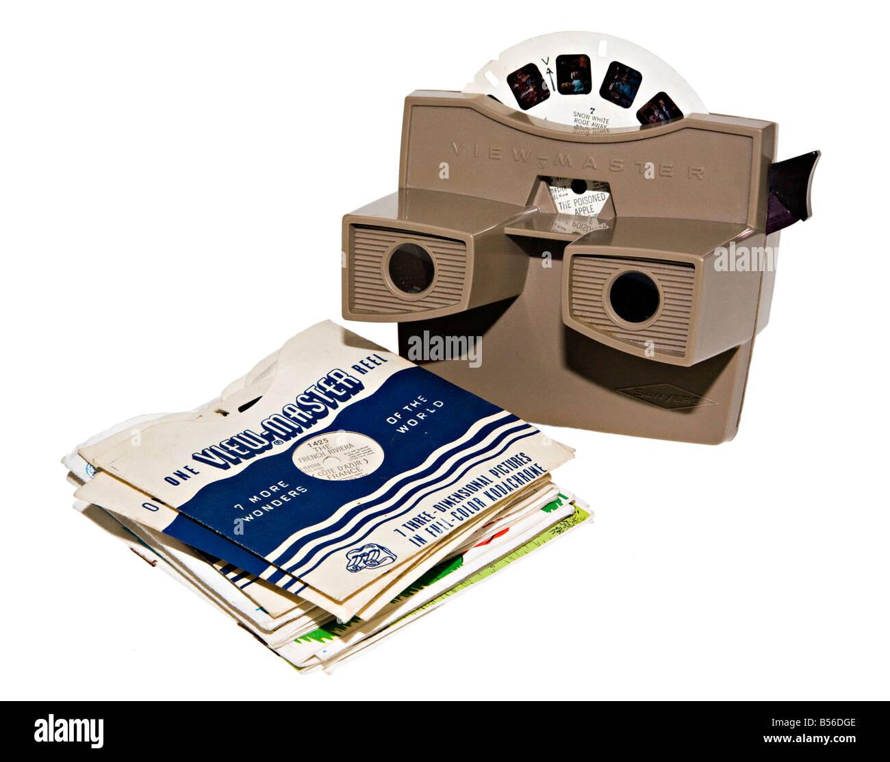 View-Master 3D Walzen datiert 1953 und Kunststoff Viewer Typ G aus dem Jahr 1959 produziert Stockbild