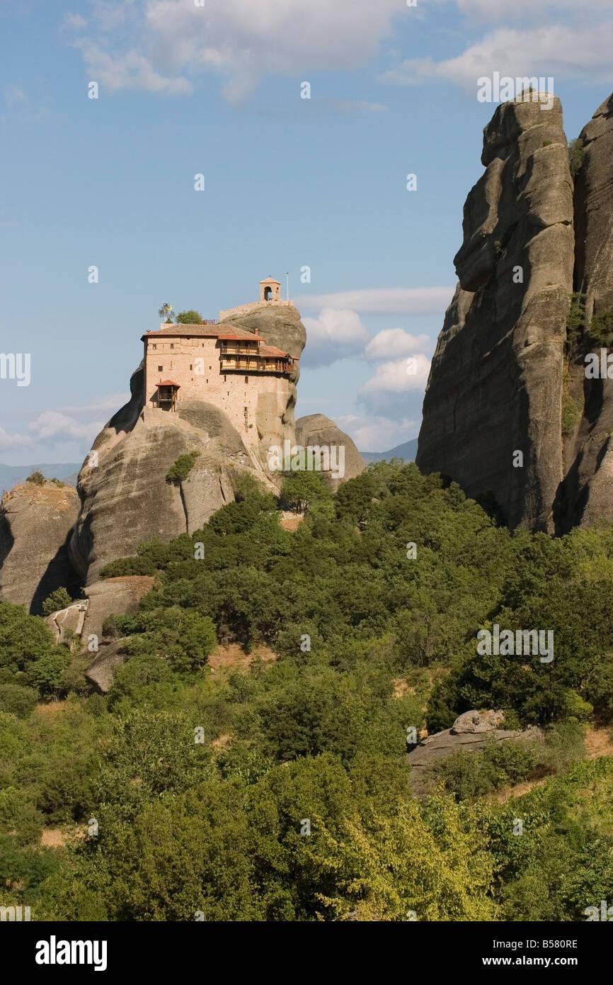 St. Nikolaus Anapafsa (St. Nicholas Anapausas) Kloster, Meteora, UNESCO-Weltkulturerbe, Thessalien, Griechenland, Stockbild