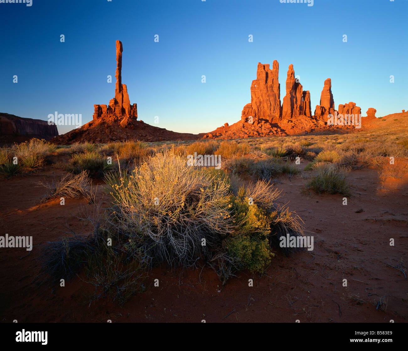 Totempfahl, Monument Valley Tribal Park, Arizona, Vereinigte Staaten von Amerika, Nordamerika Stockbild