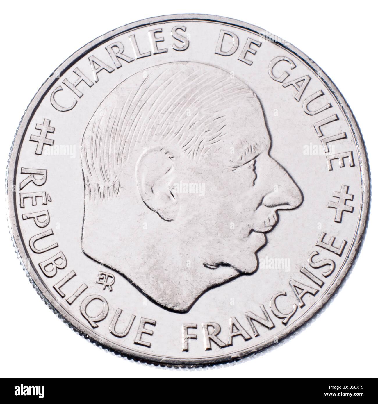 Französisch 1 Franc Münze Von 1988 Mit Charles De Gaulle Stockfoto