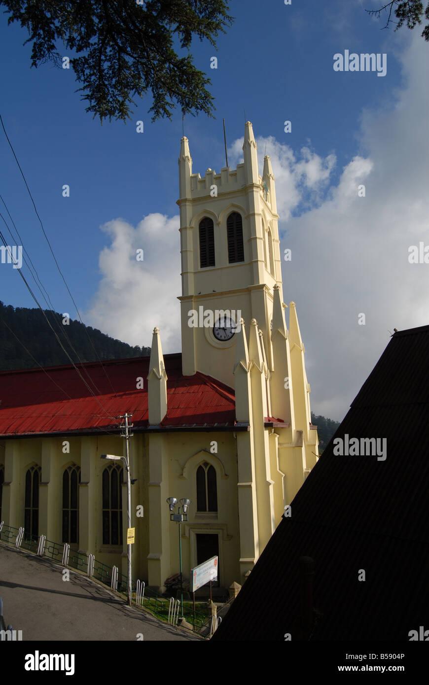 Blick auf das Wahrzeichen der Christuskirche in Shimla, Himachal Pradesh, ein Hügel-Station in Nord-Indien Stockbild