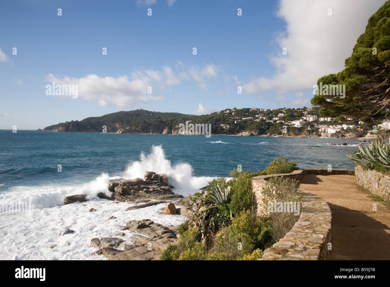 Cami de Ronda und der Küste zwischen Llafranc und Calella de Palfrugell Katalonien Spanien Stockbild