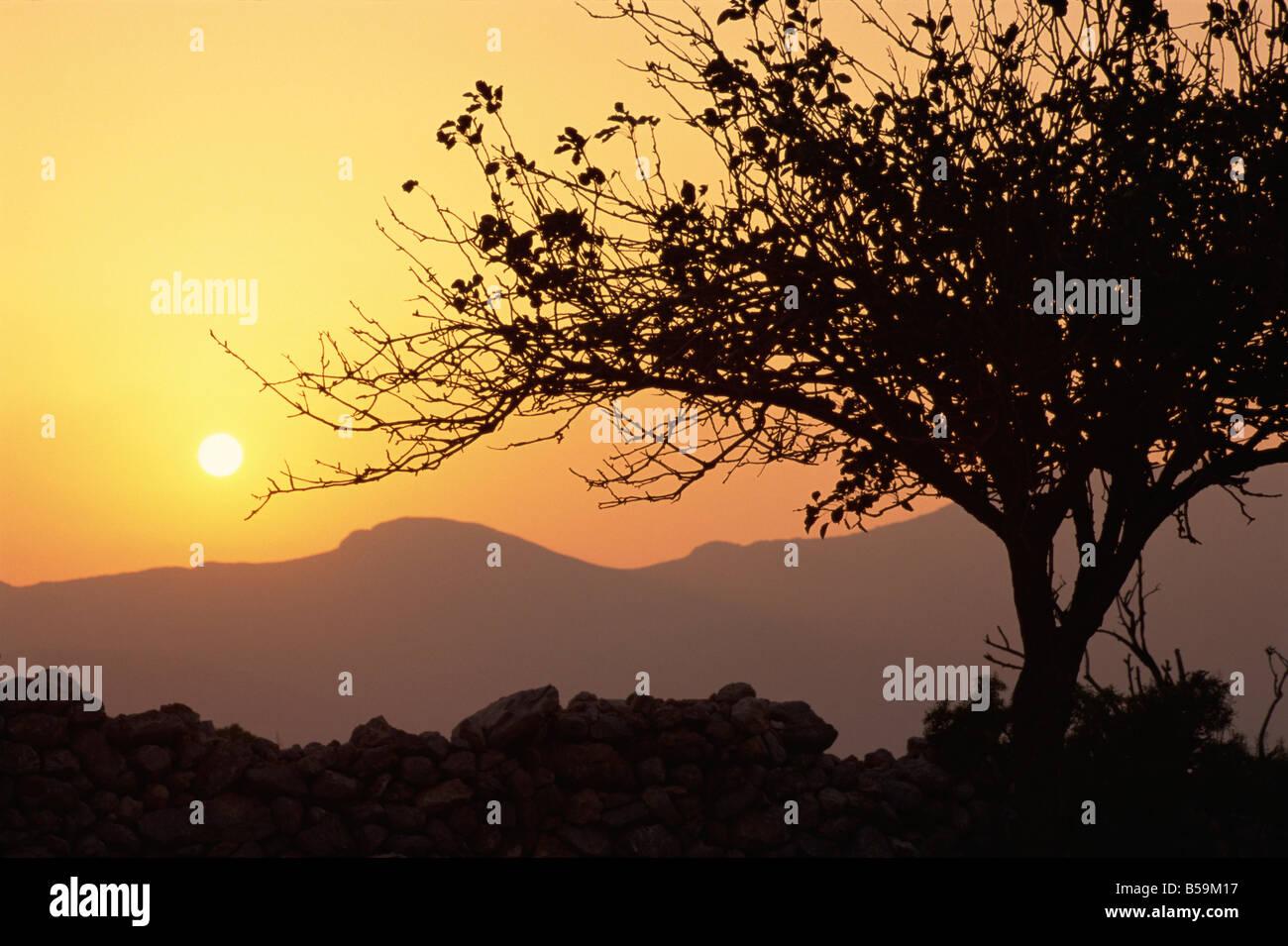 Sonnenuntergang Tilos Dodekanes griechische Inseln Griechenland Europa Stockbild