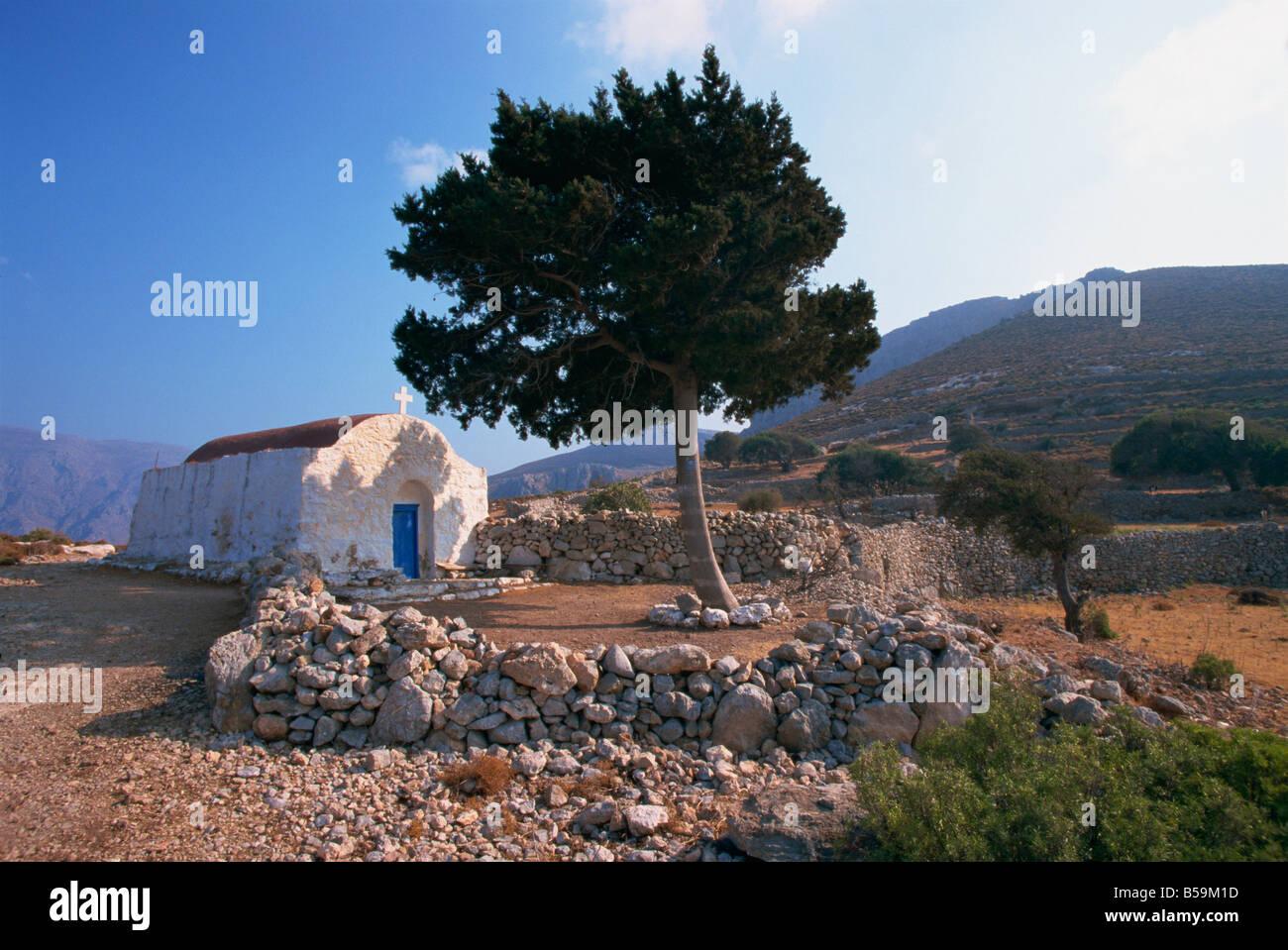 Kapelle St. Stephanos Tilos Dodekanes griechische Inseln Griechenland Europa Stockbild