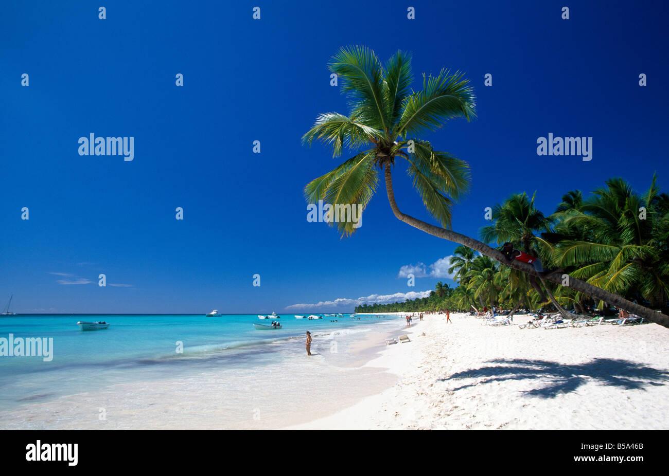 Strand auf Isla Saona Parque Nacional del Este Dominikanische Republik Karibik Stockbild