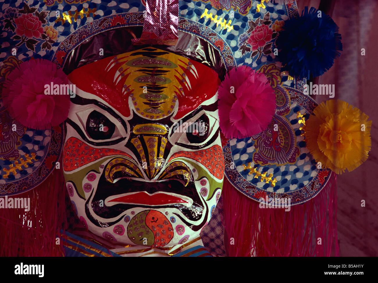 Papier Pappmaché Maske Hungry Ghost Penang Malaysia Südost-Asien Asien Stockbild