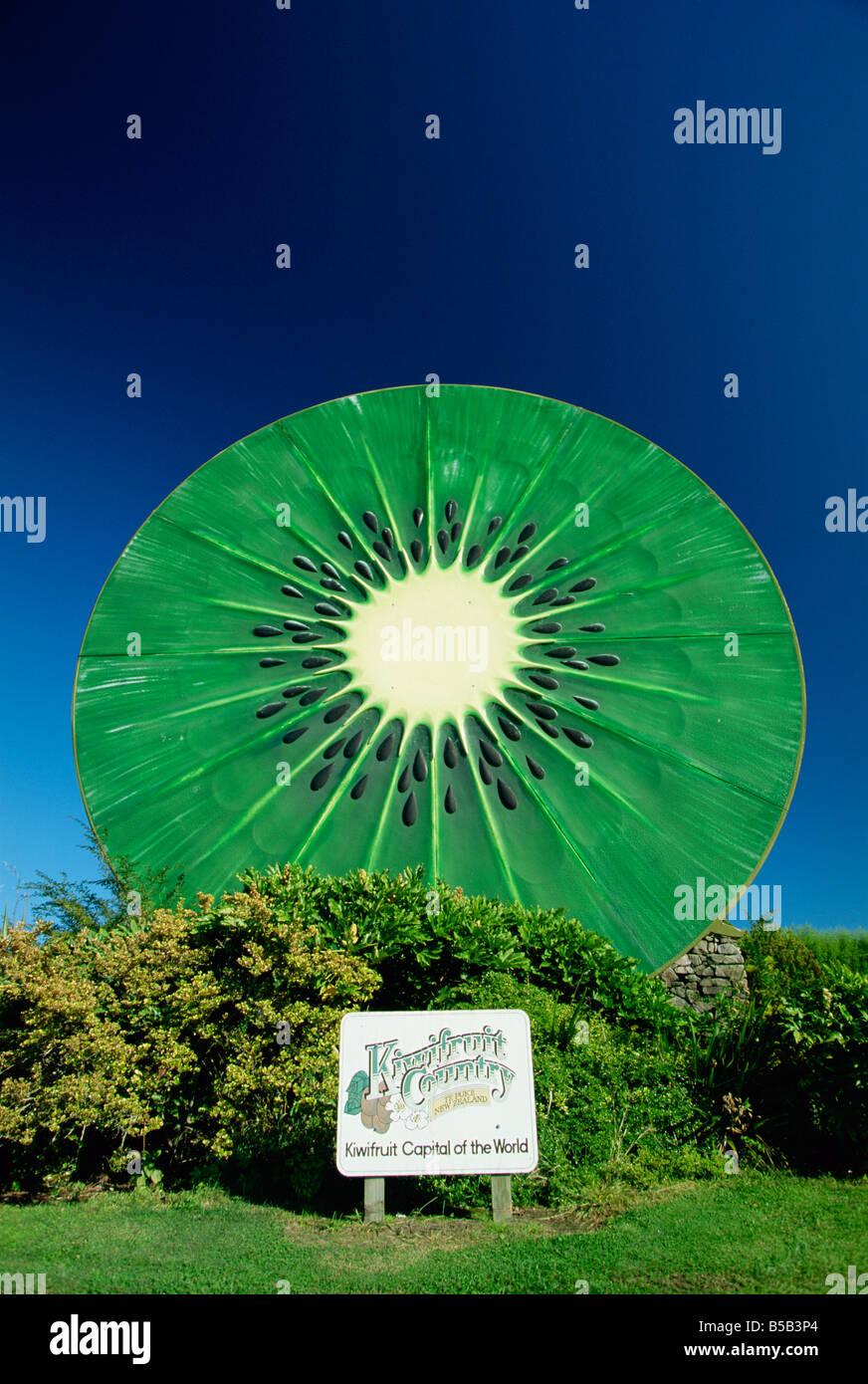 Riesige Kiwis unterzeichnen in Te Puke, Kiwi-Frucht-Hauptstadt der Welt, in der Region Bay of Plenty auf der Nordinsel Stockbild