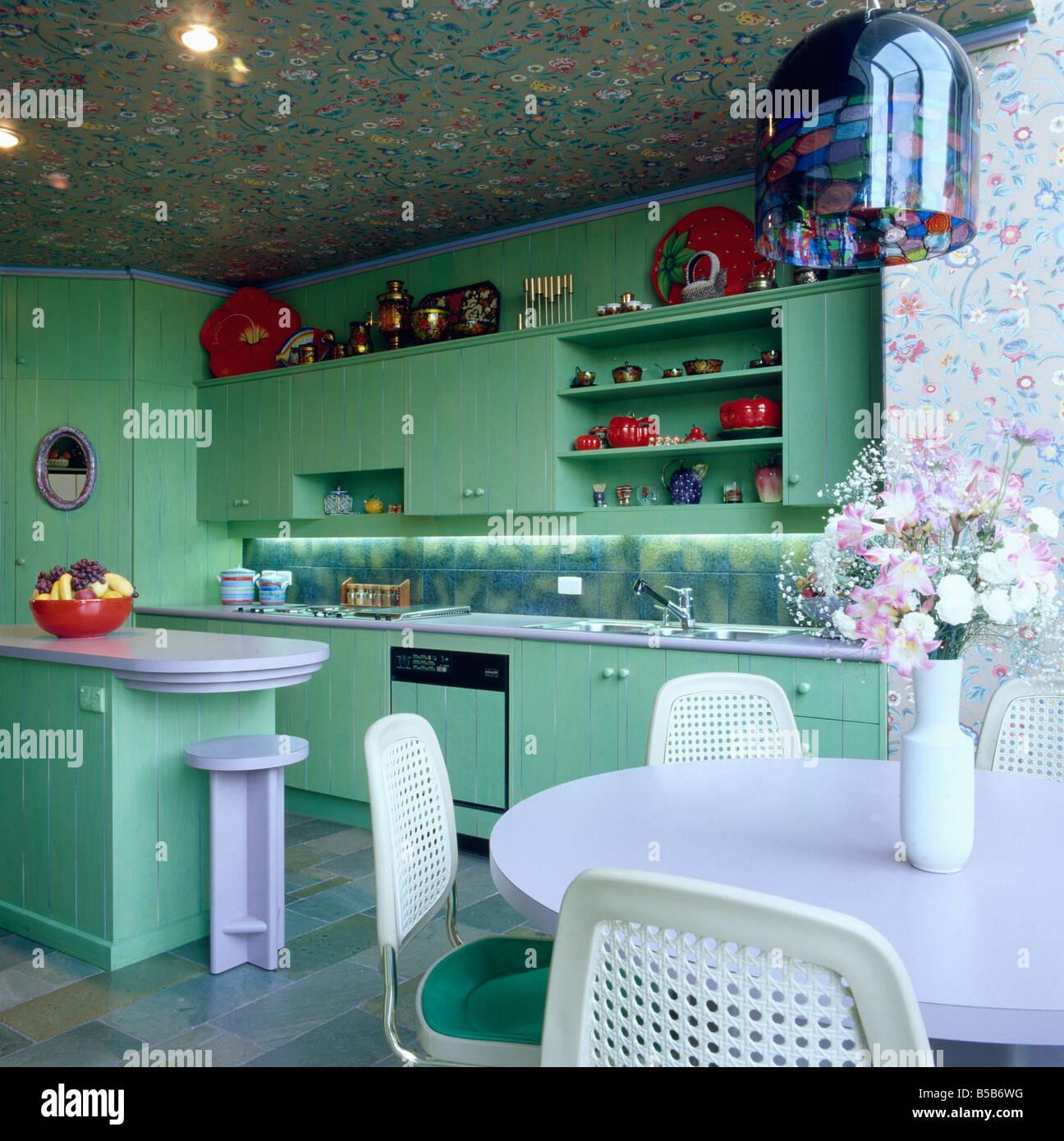 Interiors Kitchen Eighties Lighting Stockfotos & Interiors Kitchen ...