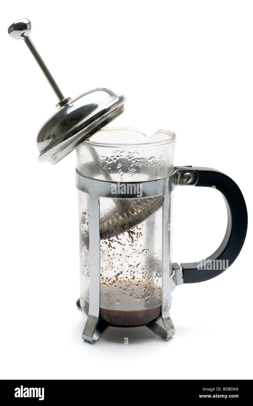 Gebrauchte und leere Kaffee Kaffeekocher Stockbild