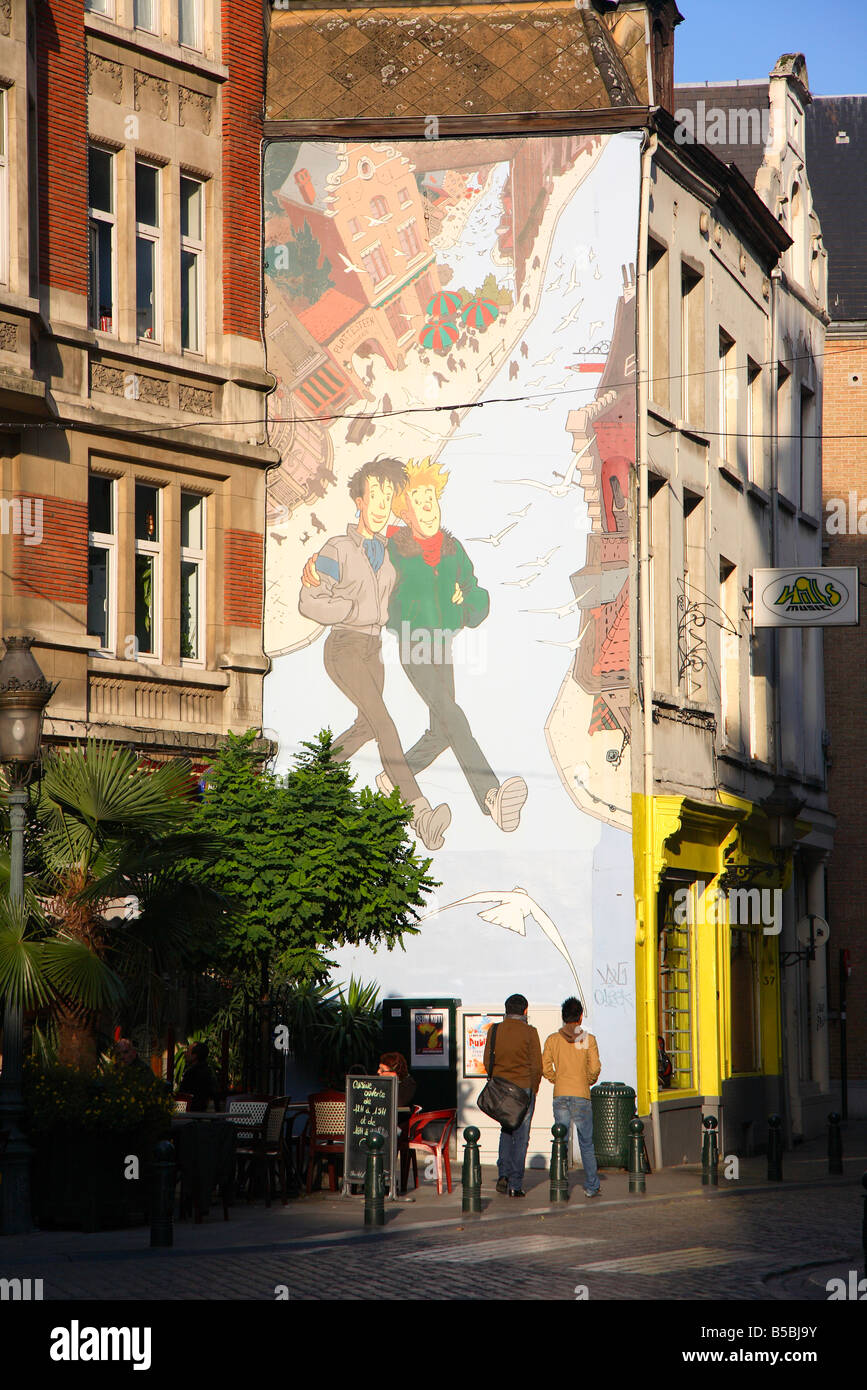 Wandmalerei mit Comic-Strip, Brüssel, Brüssel, Belgien Stockbild