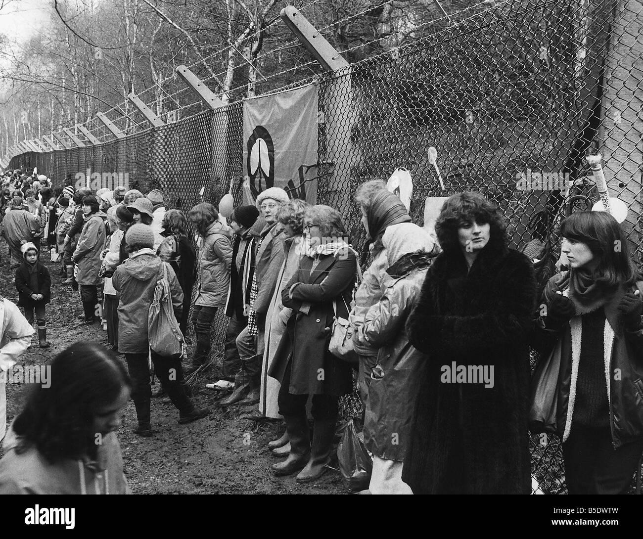 Demonstrationen CND Frauen in Greenham Common Stockbild