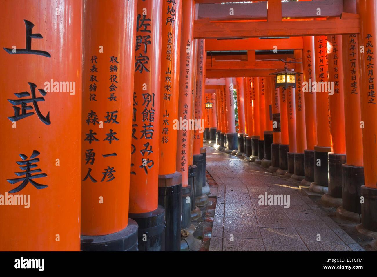 Kyoto-Stadt Japan Gehweg von Torii Toren am Fushimi Inari Schrein Shinto bietet Stockbild