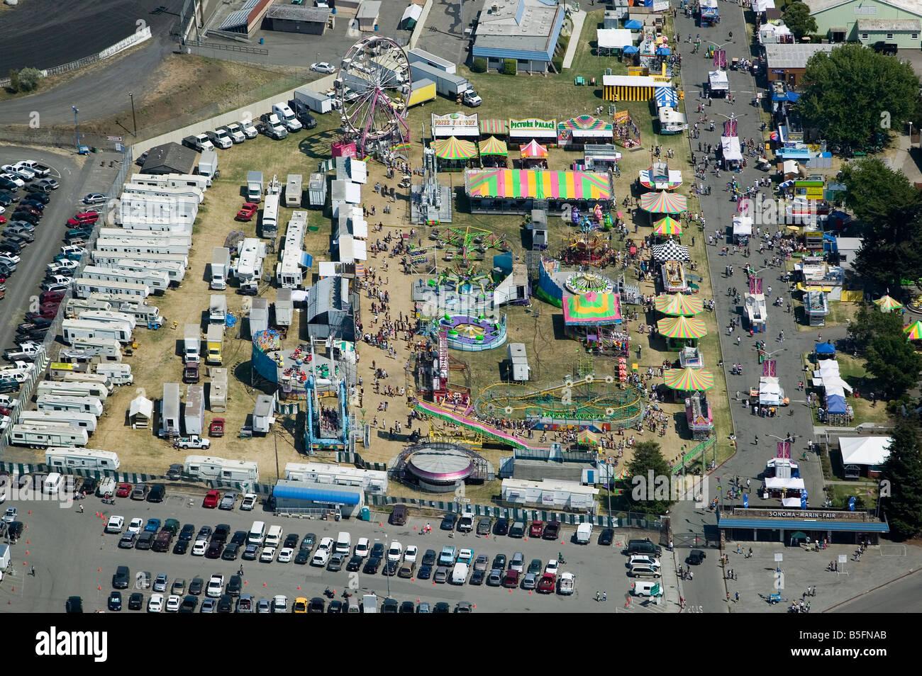 Luftaufnahme über Sonoma Marin County Fair Petaluma, Kalifornien Stockbild