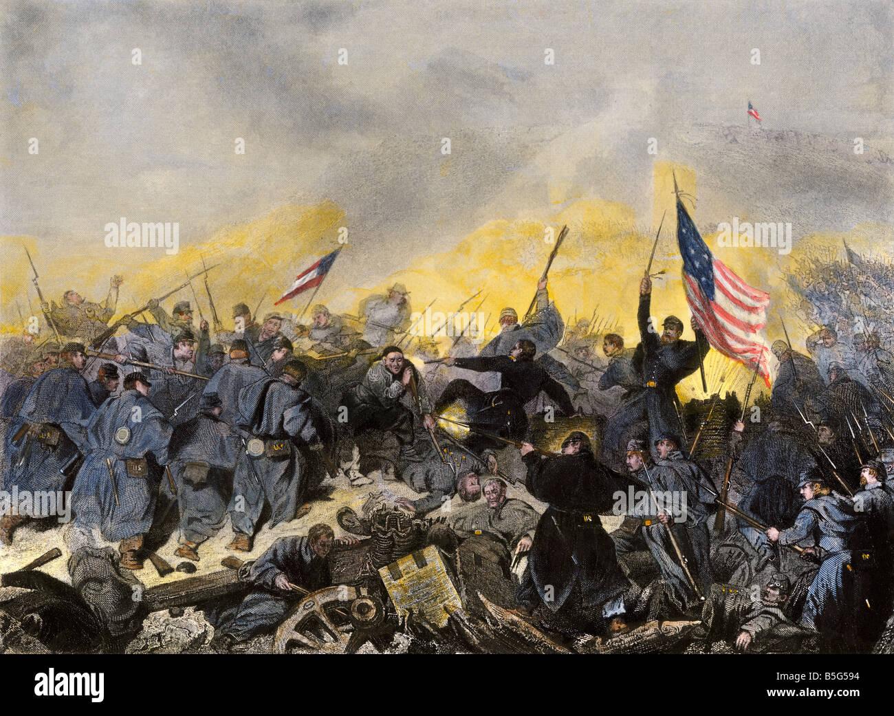 Erfassen von Fort Donelson Tennessee durch Union Truppen unter General US Grant 1862. Handcolorierte Stahlstich Stockbild