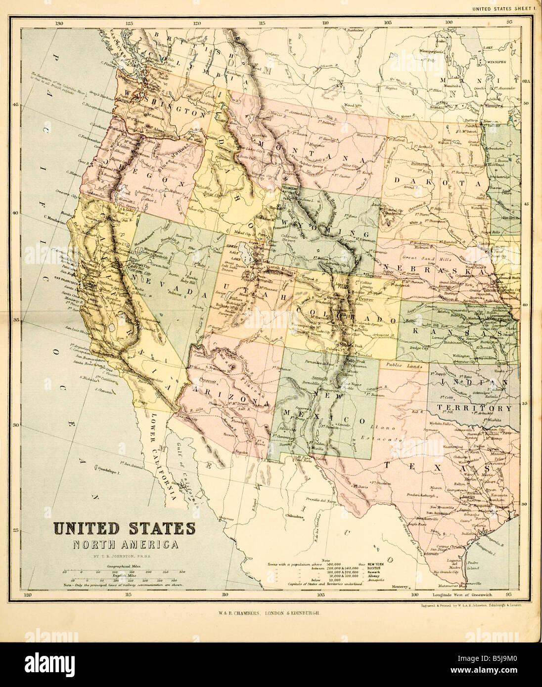 Vereinigten Staaten Nordamerika Karte Kontinent Amerika Hemisphäre arktischen Ozean Atlantik Stockbild