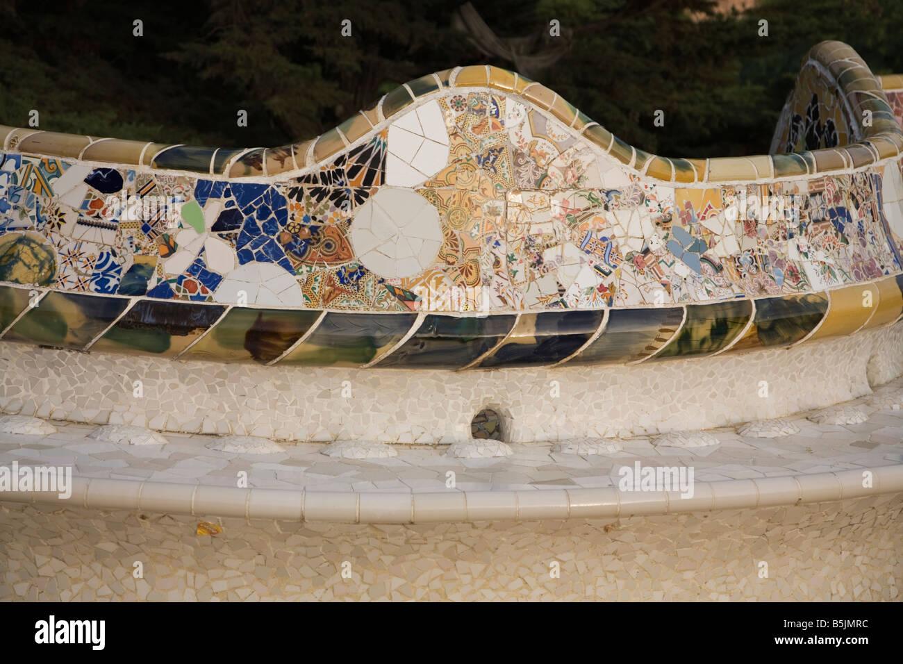 Keramische Serpentine Terrasse Detail An Der Park Guell Barcelona