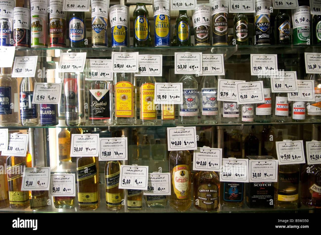 Alkoholische Getränk in einem Alkohol shop in Kairo Ägypten ...