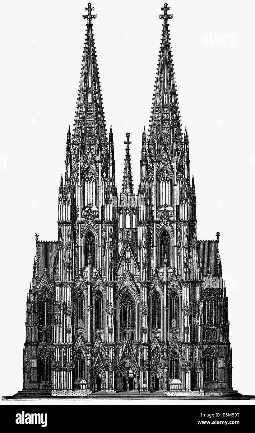 Architektur Kirchen Und Kloster Detail Fassade Kolner Dom Erbaut 1248 1880 Stockfotografie Alamy