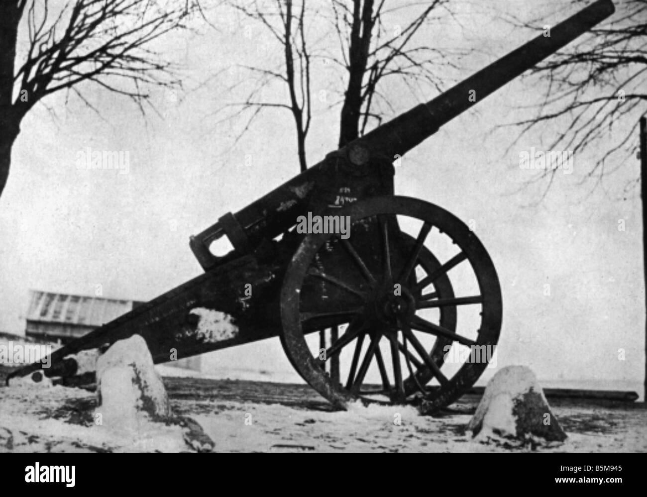 WWI Eastern Front erobert Rus Artillerie Geschichte WWI Eastern Front Captured Russische Artillerie undatierten Stockbild