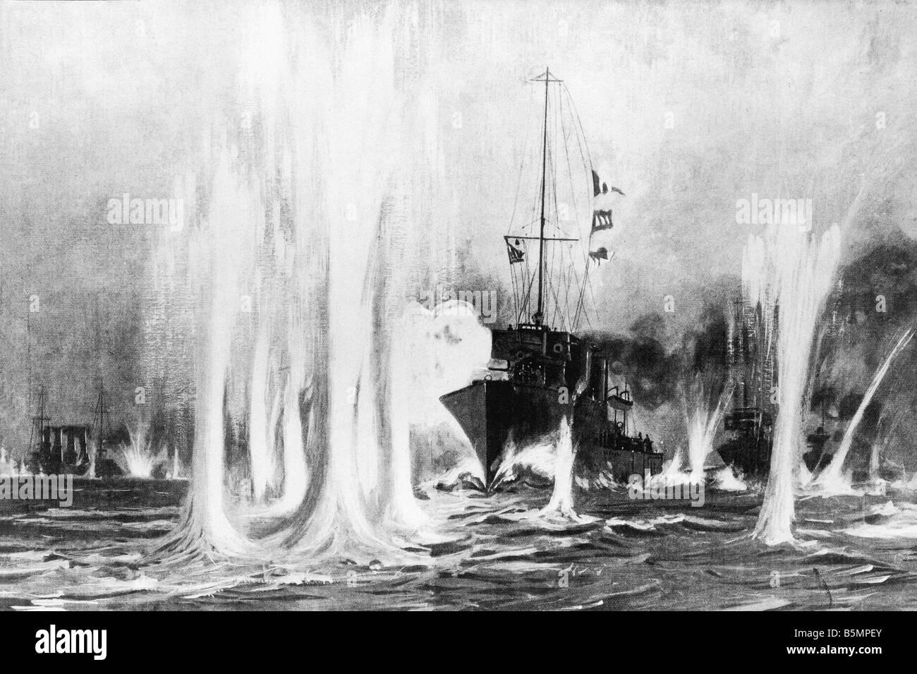 9 1914 8 28 A1 E Naval Battle August 1914 Holz ger 1. Weltkrieg Krieg auf hoher See Naval battle auf Helgoland 28 8 1914 Kampfszene mit Stockfoto
