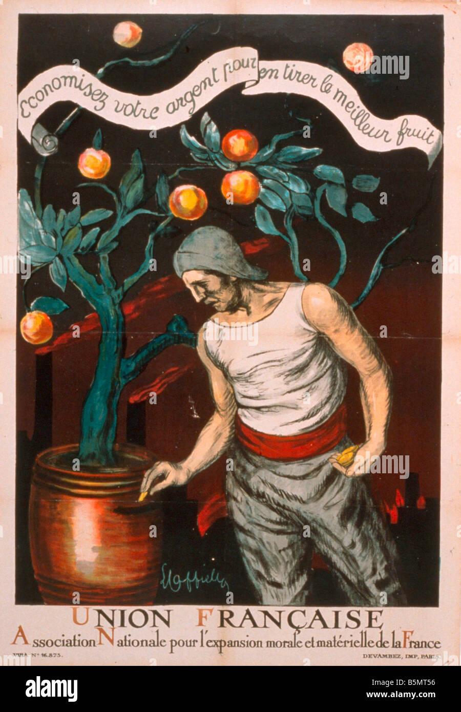 9FK 1920 0 0 E1 speichern für Wiederaufbau Poster 1920 Frankreich Post Krieg Periode WW ich Wiederaufbau Union Stockbild