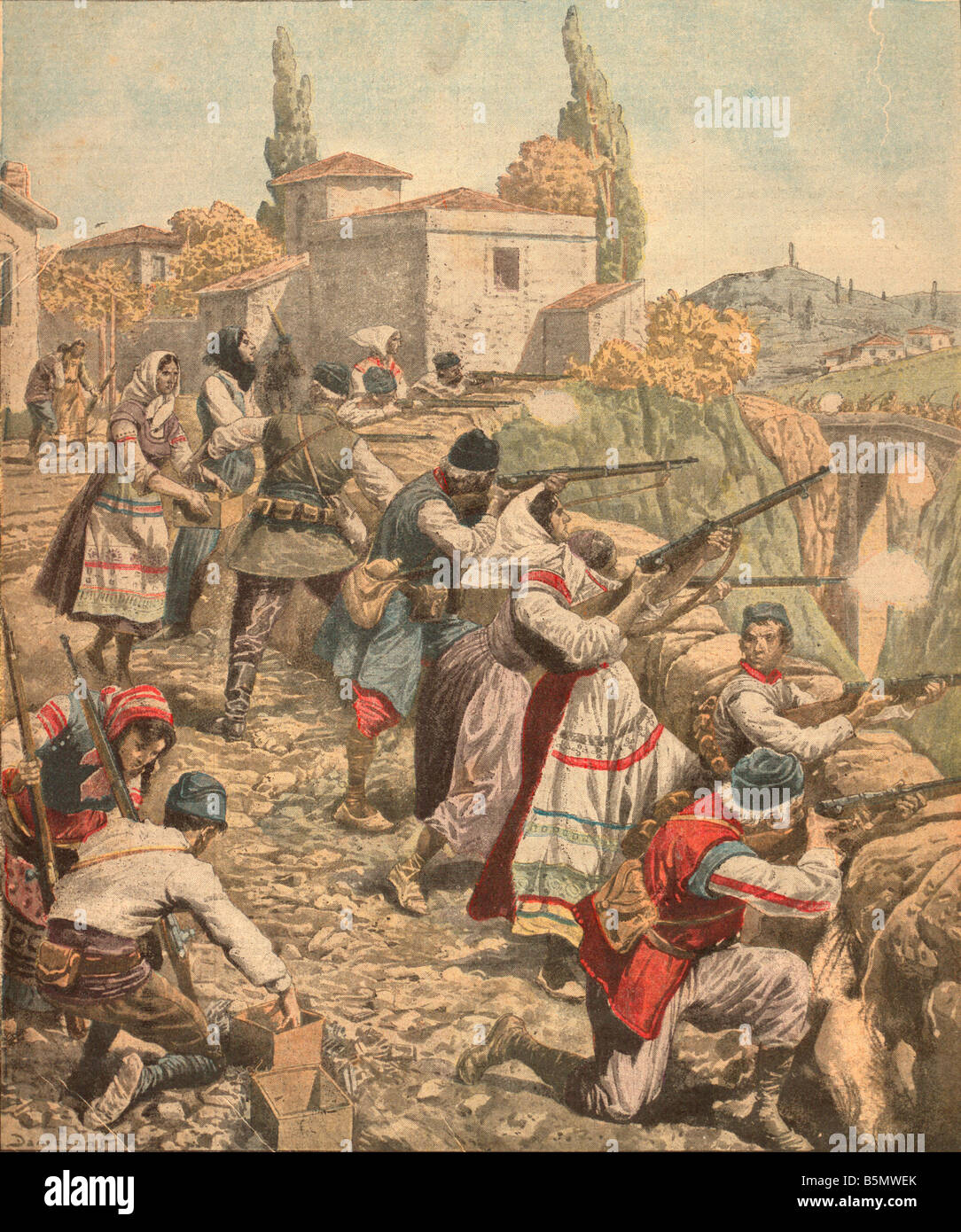 9JG 1915 11 0 A1 E Serben in WW ich Col Petit Printzeitschrift Erster Weltkrieg 2. Serbien Expedition durch die Stockbild