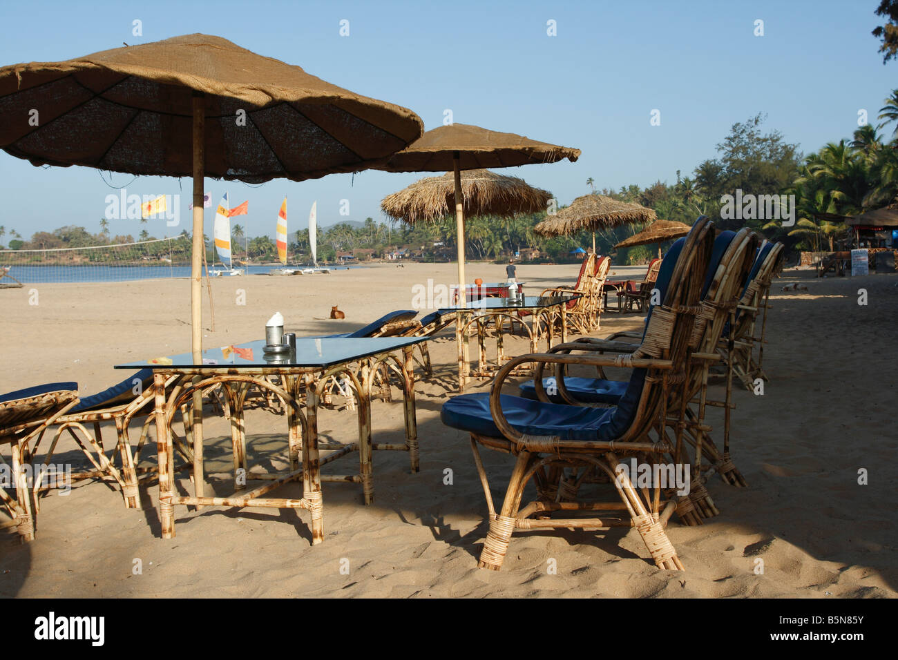 Beachrestaurant Patnem Beach Indien Indien Stockbild