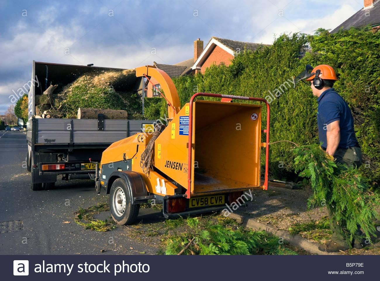 Berühmt Holz-Häcksler produziert Garten Mulch. Arbeiter mit Benzin &MG_25