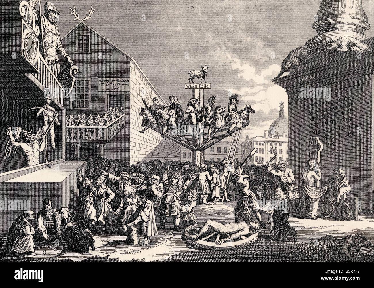 Eine sinnbildliche Print auf der South Sea Bubble von William Hogarth Stockbild