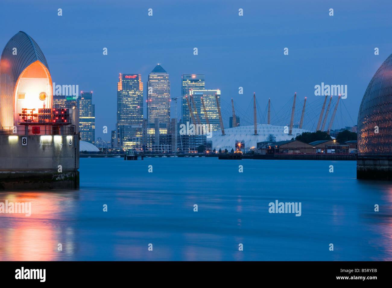 UK London Canary Wharf angesehen von der Thames Barrier Stockbild