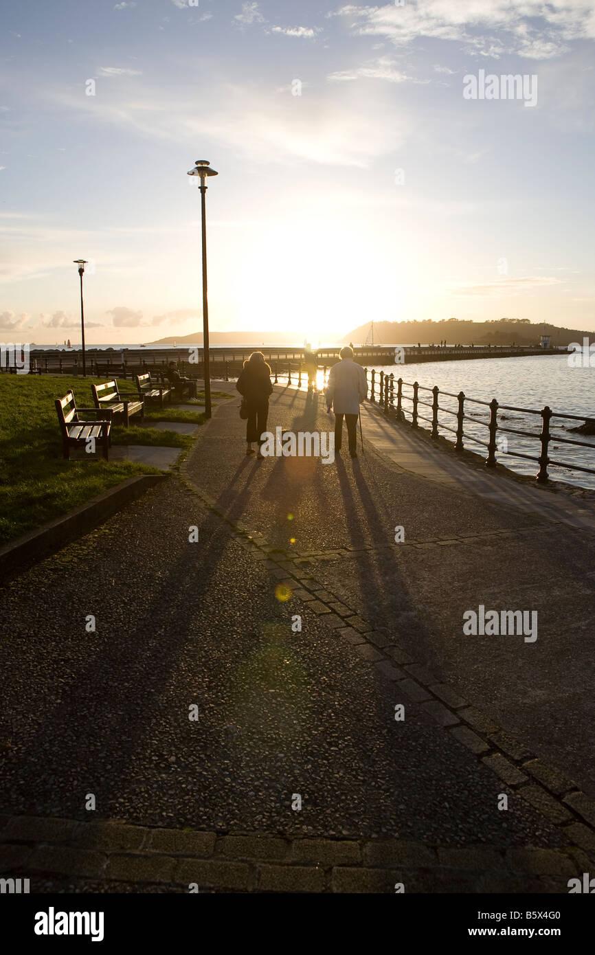 Alter Mann und Frau zu Fuß in Sonnenuntergang mit Hund. lange Schatten. Schatten. durch das Meer Wasser Plymouth, Stockbild