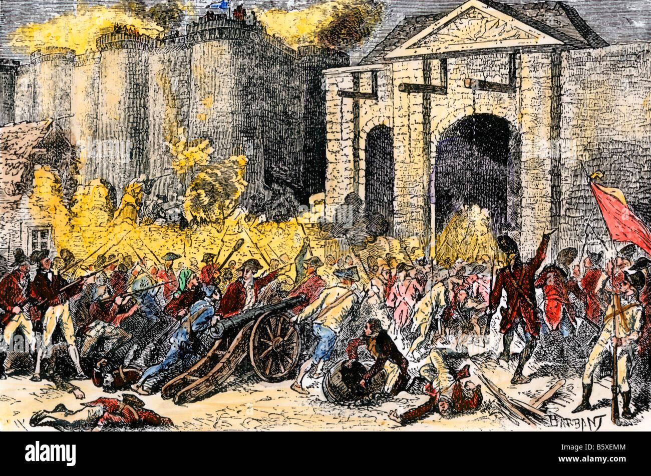Eroberung der Bastille Französische Revolution. Hand - farbige Holzschnitt Stockbild