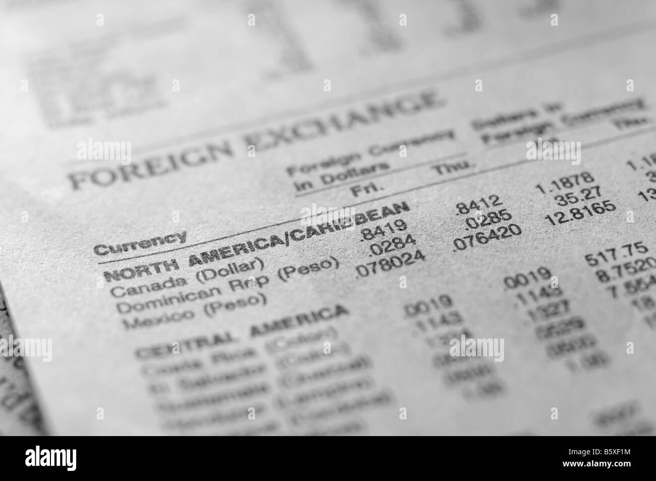 Devisen-Abschnitt der Wirtschaftszeitung. Stockbild