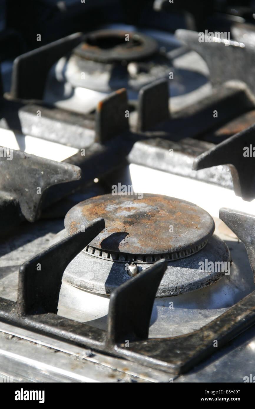 Detail Der Ringe Auf Alten Gasherd Herd Ofen Stockfoto Bild