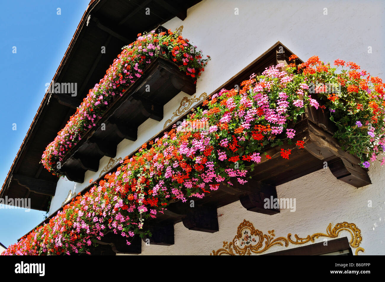 bavaria germany traditional balcony flowers stockfotos. Black Bedroom Furniture Sets. Home Design Ideas
