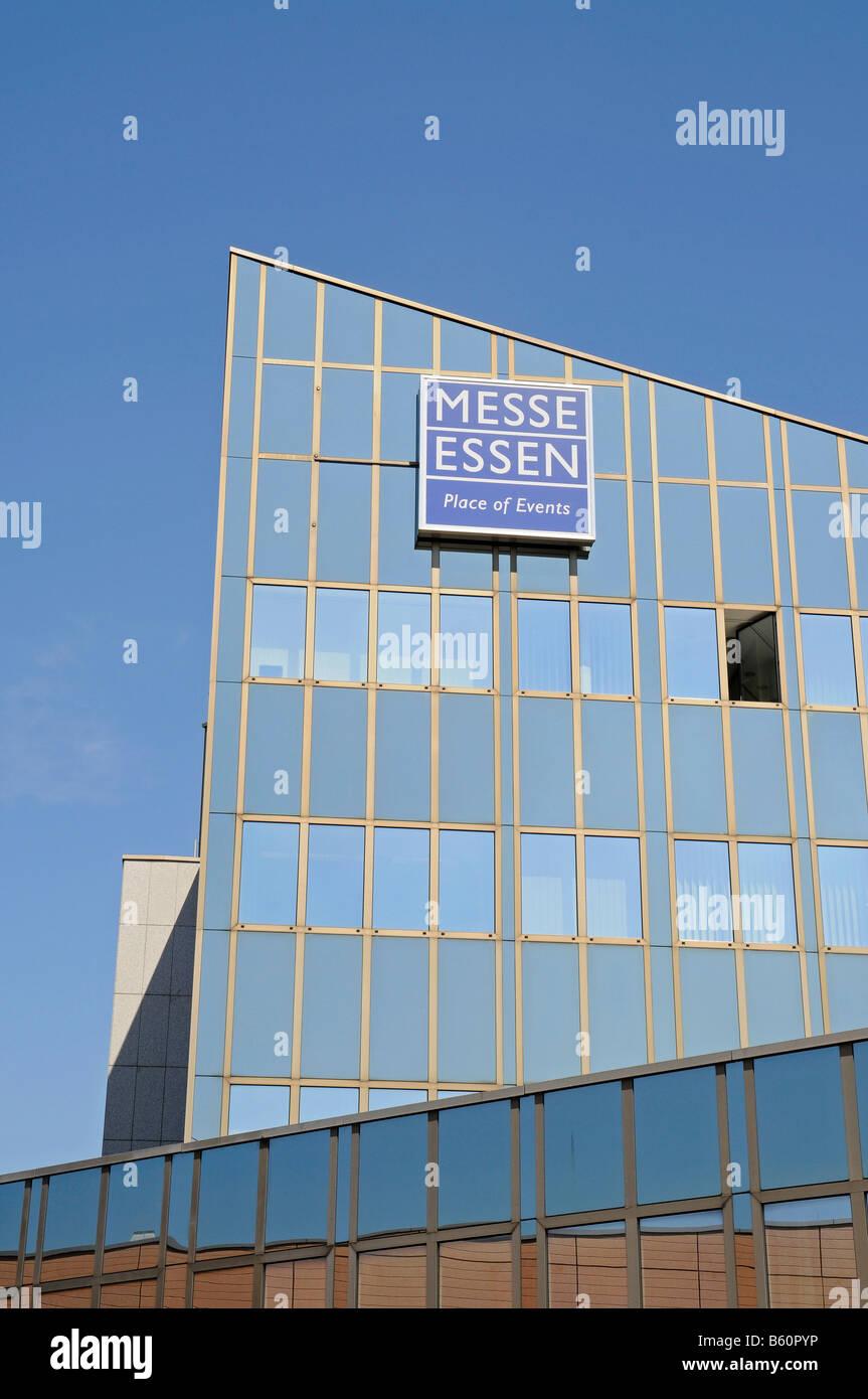 Schriftzug, Logo Messe Essen Ort des Events, faire Gebäude, Messehalle, Essen, Ruhrgebiet, Ruhrgebiet, Nordrhein Stockbild