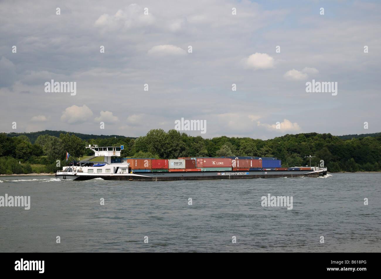 Containerschiff General auf dem Rhein bei Bonn, Nordrhein-Westfalen Stockbild
