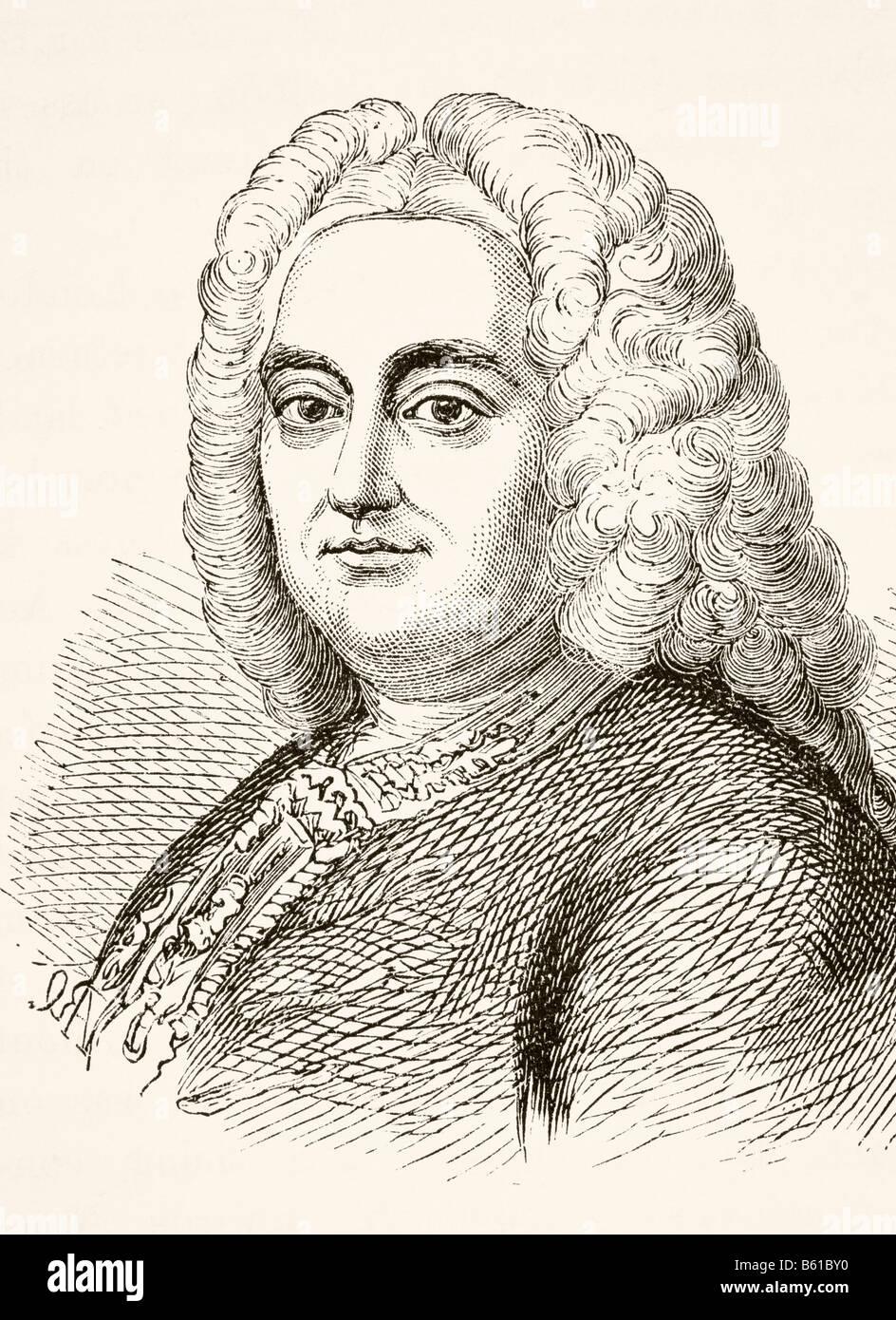 Georg Friedrich Händel 1685 1759 Deutsch geboren englischen Komponisten des späten Barock Stockbild