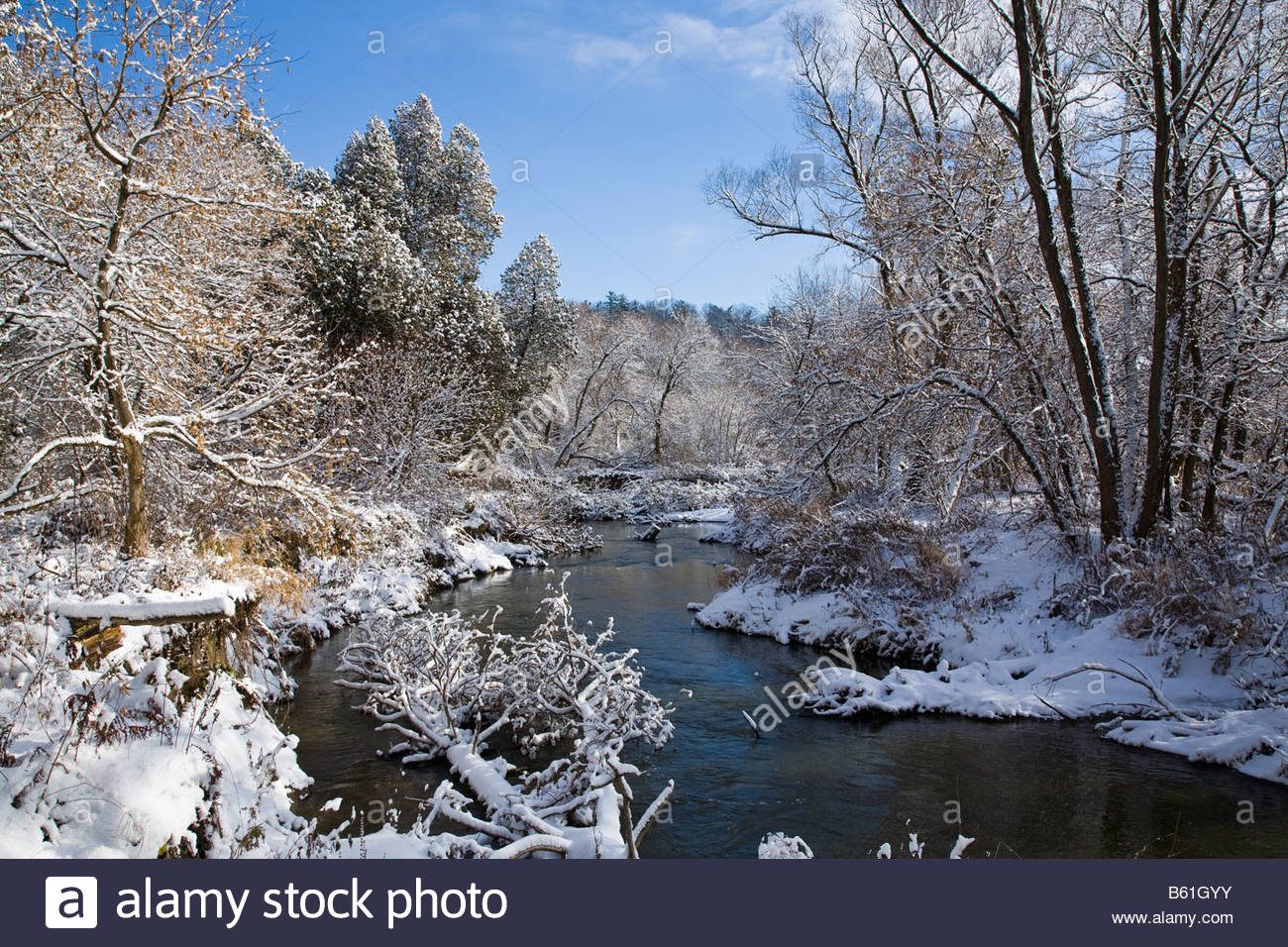 Rouge River nach dem ersten Winterschnee im Rouge Park eine urbane Wildnis in Toronto Ontario Kanada Stockbild