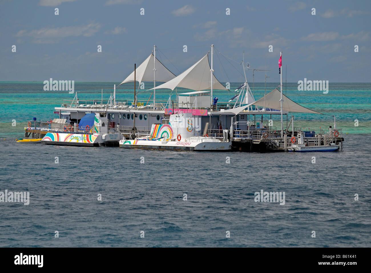 Fest installierte Tauchen-Schnorcheln- Station in der Great Barrier Reef, Australien Stockfoto