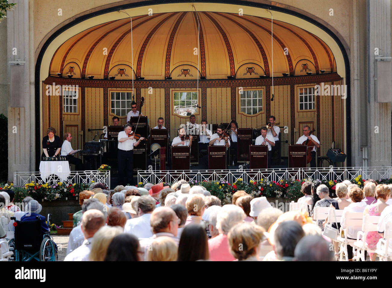 Konzert des Kurorchesters, Bad Kissingen, Rhön, untere Franken, Bayern, Deutschland, Europa Stockbild