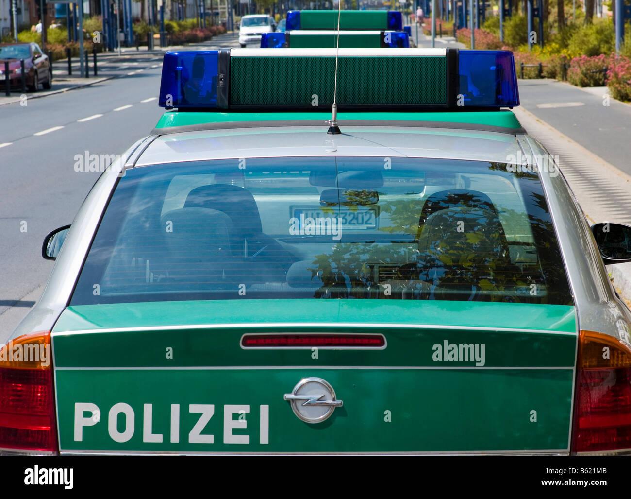 Polizeiautos, hintere Ansicht, Deutschland, Europa Stockbild