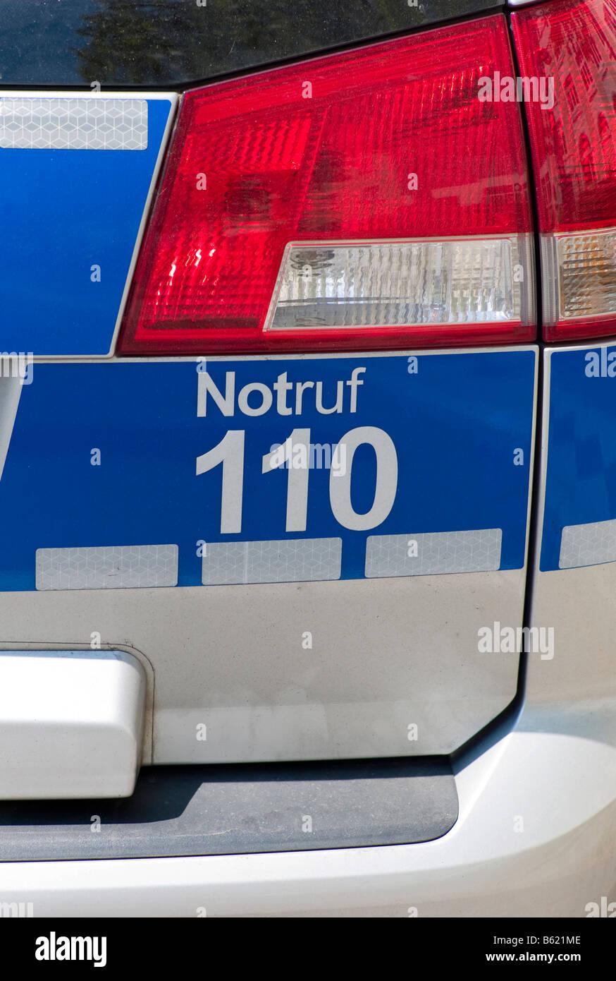 Polizeiautos, Rückansicht, Detail, Deutschland, Europa Stockbild