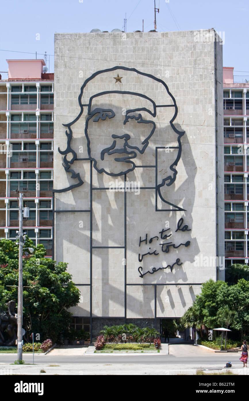 Innenministerium, Bild von Che Guevara, Platz Placa De La Revolucion, Havanna, Kuba, Karibik Stockfoto
