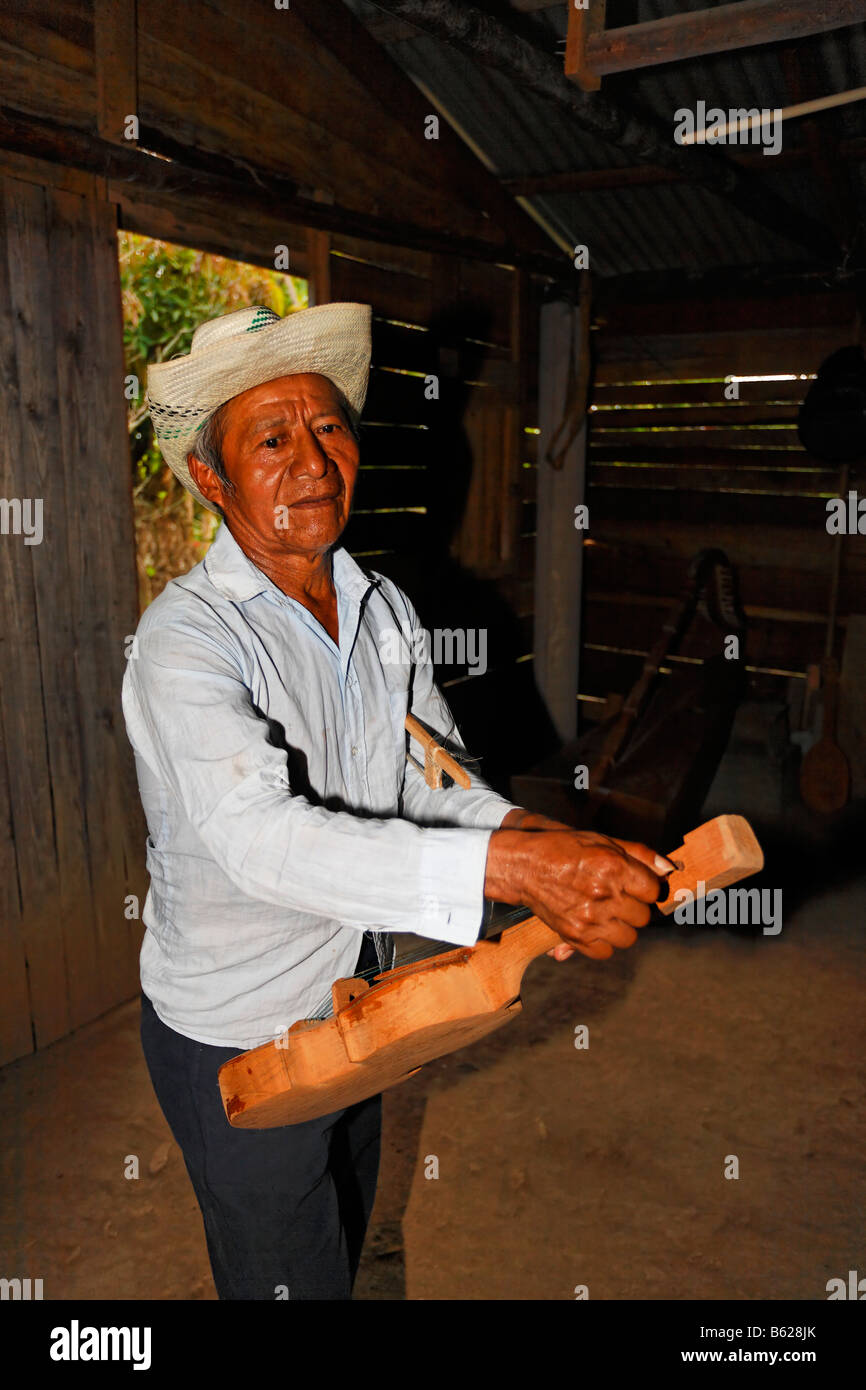 Mann, lokale Musiker, tuning, eine hausgemachte Instrument, Geige, Holzhütte, Punta Gorda, Belize, Mittelamerika Stockbild