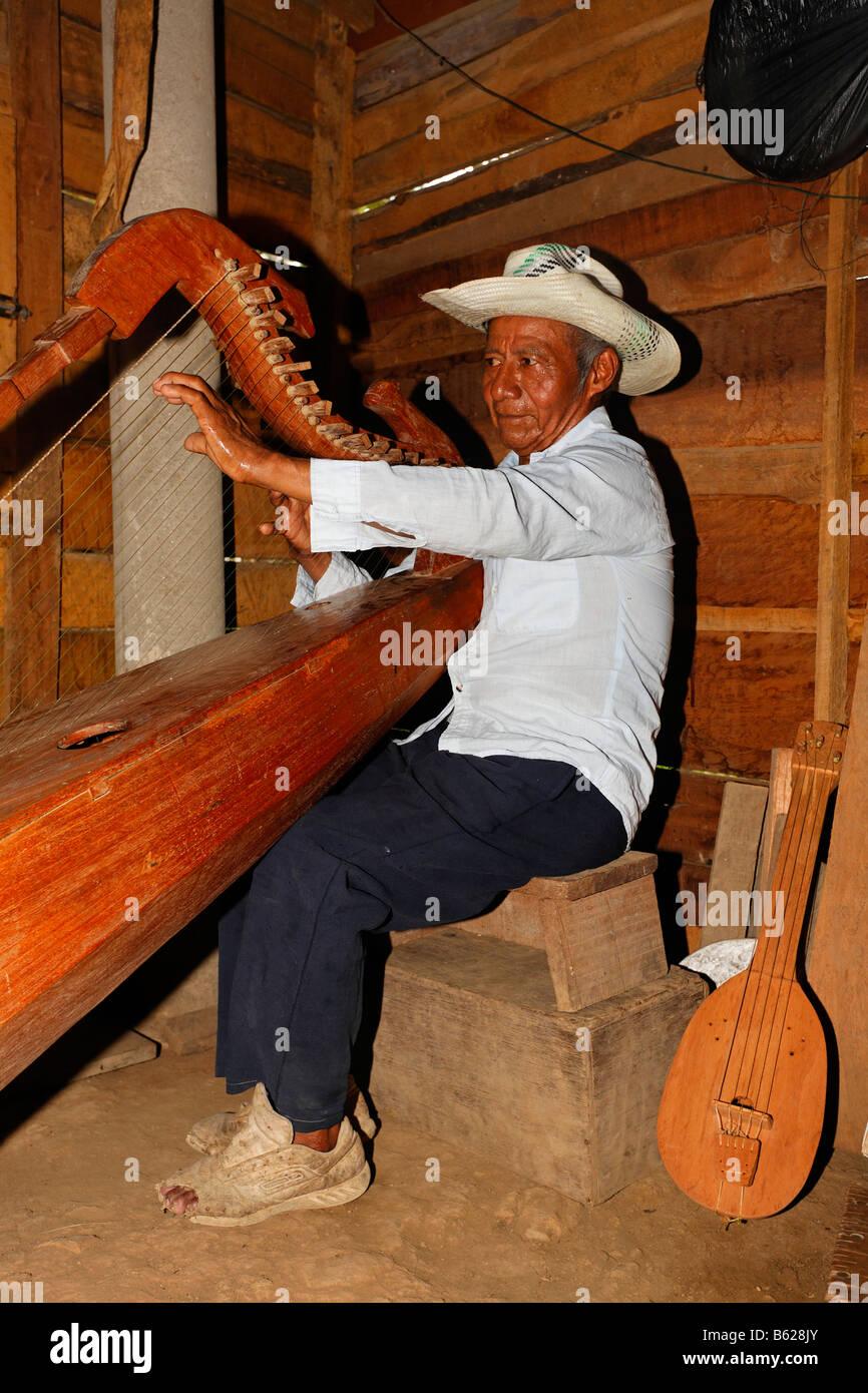 Einheimische Musiker spielt einen selbstgebauten Instrument, Harfe, Holzhütte, Punta Gorda, Belize, Mittelamerika Stockbild